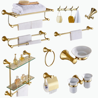modern 304 stainless steel gold polish bathroom accessories Horn shape base wall mount bathroom hardware set