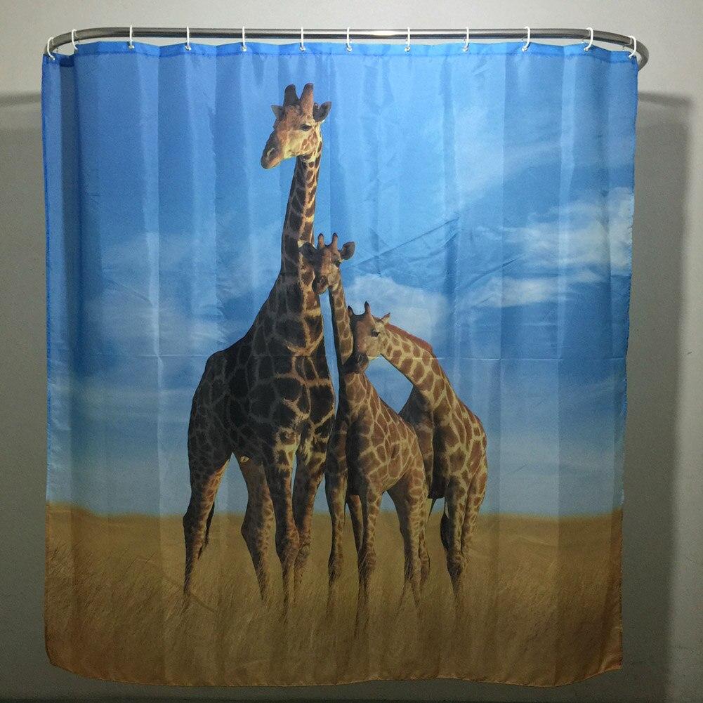 180 cm 180 cm moderne cartoon 3d wasserdicht polyester duschvorhang giraffe schatten muster mit 12