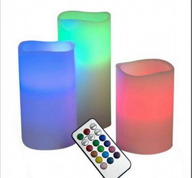 3pcs/set LED Remote Control Electronic Wax Candle 12 Color Changing Flicker Flameless Candle Light Set Free shipping us