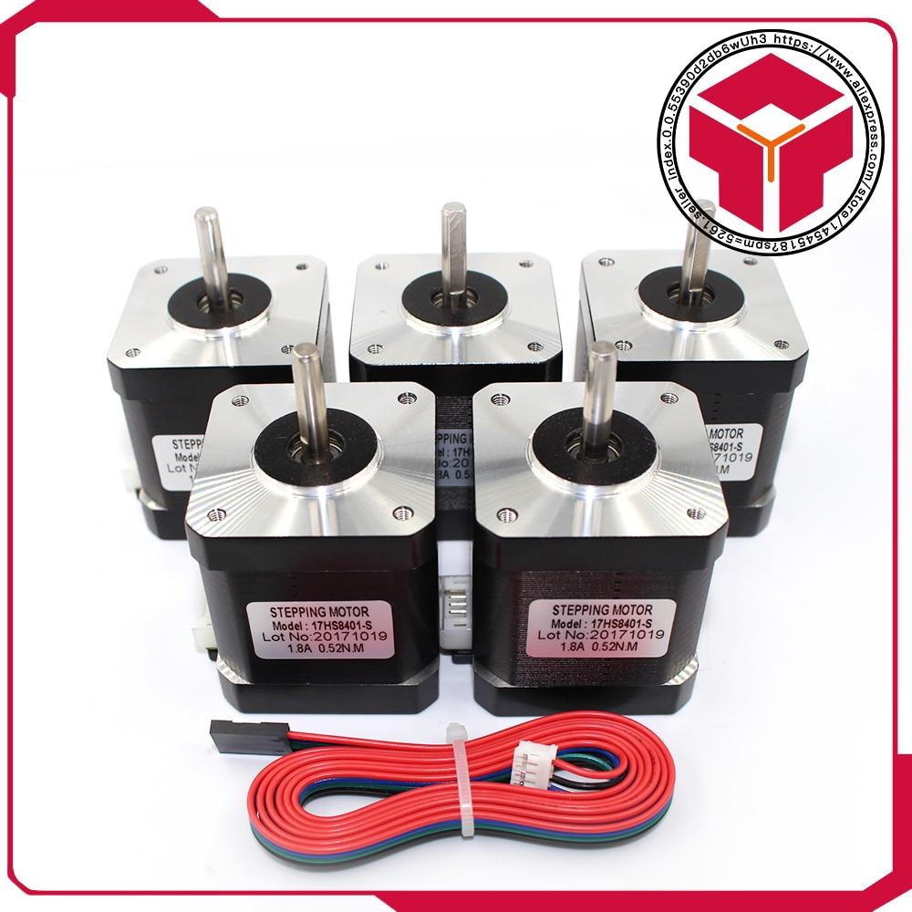 5 unids/lote (17HS4401S) v5 V6 4 Plomo Nema17 Stepper Motor 42 motor Nema 17 motor 42 BYGH 1.7A (17HS4401S) motor para CNC