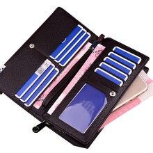 цена на Luxury Zipper Men Wallets Genuine Leather Men Long Purses Brand Soft Mens Clutch Wallet Bifold Male Money Bag Multi-Card Slot