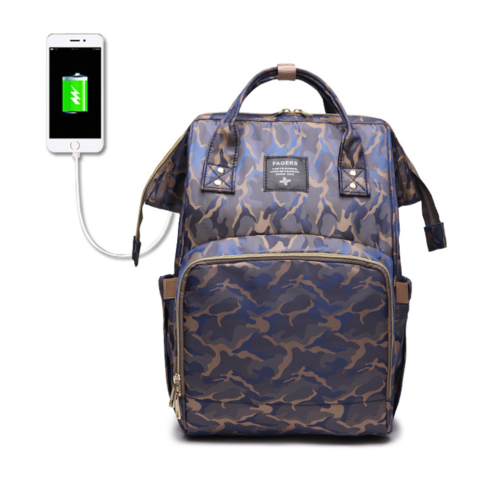 New Camouflage Baby Diaper Bag USB Baby Nappy Bag Waterproof Backpack Cute Maternity Bags Baby Care Changing Bag Backpack new arrive baby diaper bag cute baby nappy bag waterproof backpack maternity bags baby care cute changing bag backpack