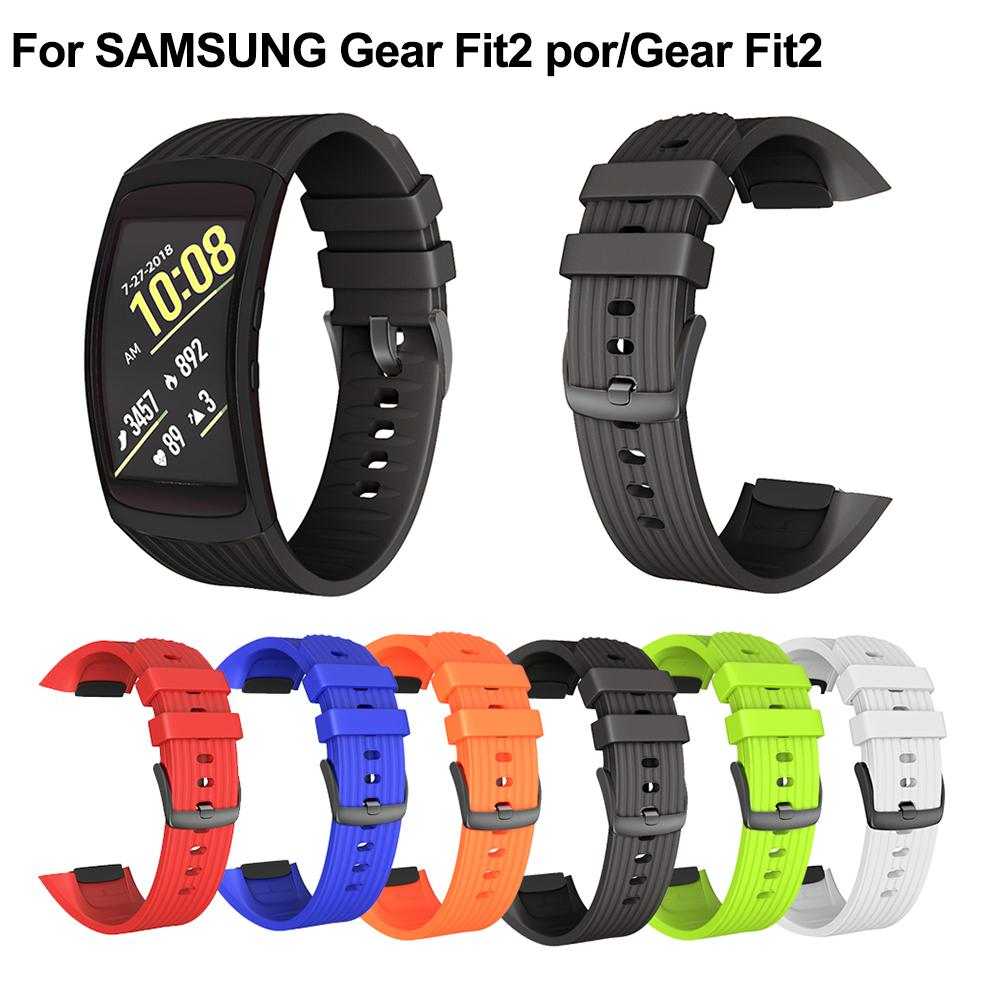 For SAMSUNG Gear Fit2 Por/Gear Fit2 Strap R360 Stripe Silicone Replacement Wrist Strap Long 182MM Width 20MM Silicone Strap(China)