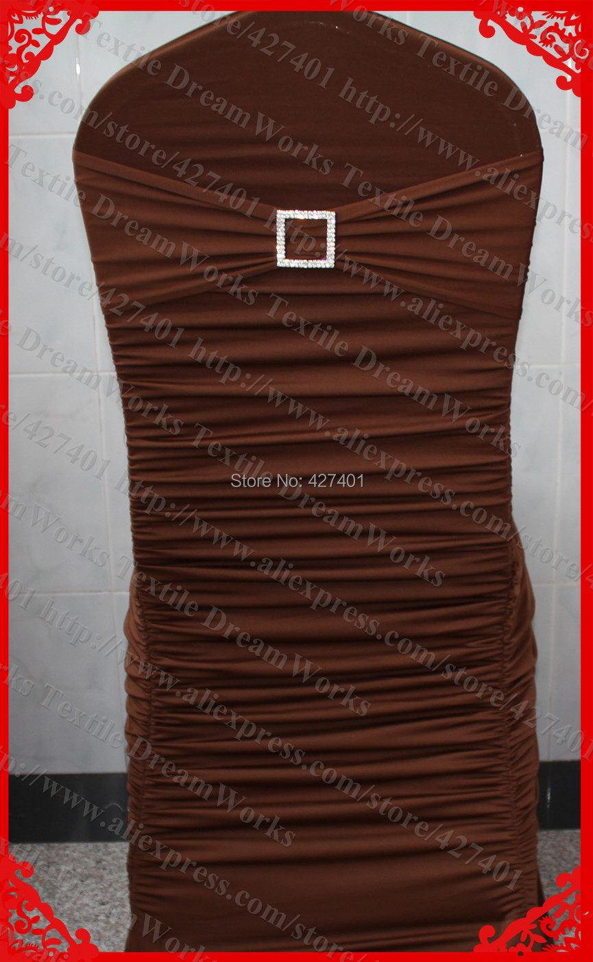 NO.31 Chocolate Brown Ruffled Lycra Chair Covers With Band/Sash&Square Diamond Buckle&Pin For Wedding  Banquet Home DecorationNO.31 Chocolate Brown Ruffled Lycra Chair Covers With Band/Sash&Square Diamond Buckle&Pin For Wedding  Banquet Home Decoration