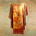Печать шелковый Bat футболка 100% натуральный шелк тутового / новая весна и лето 2014 модный дизайн для женщин / плюс большой размер