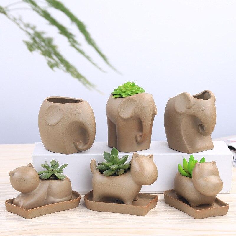 1 Pc Retro Succulent Plant Pot Cute Elephant Animal Ceramic Flowerpot Nursery Garden Porcelain Flower Pot Bonsai (No Plant)