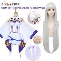 Coshome Re Zero Kara Hajimeru Isekai Seikatsu Emilia Wigs Cosplay Costumes Women Dress With Headdress For