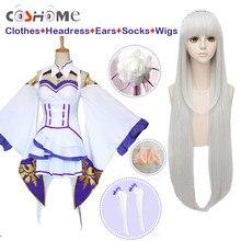 Coshome Re Zero Kara Hajimeru Isekai Seikatsu Emilia Wigs Cosplay Costumes Women