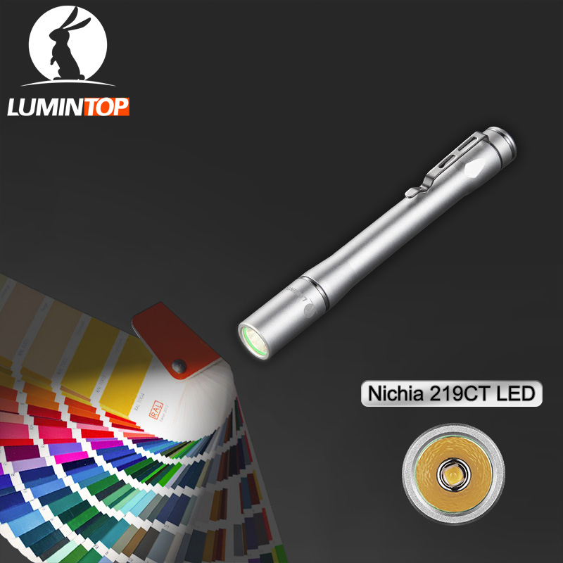 LUMINTOP Mini Pen Light Silver IY365 2 Way Mode Switch EDC Medical Flashlight Penlight Max 200 lumens Nichia 219BT LED
