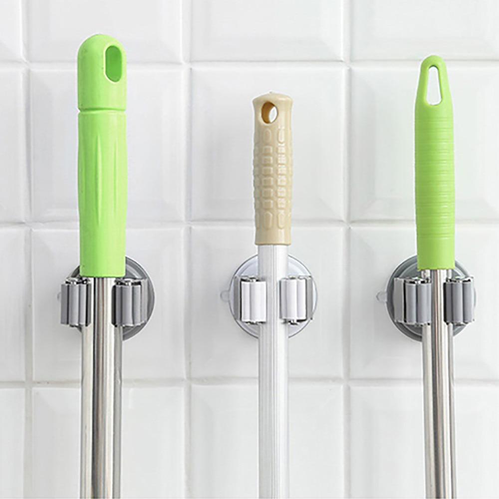 Badezimmer Regale Hell Spurlose Sauger Haken Mopp Halter Wand Montiert Küche Bad Saugnapf 11,21 üBerlegene Materialien Bad Hardware