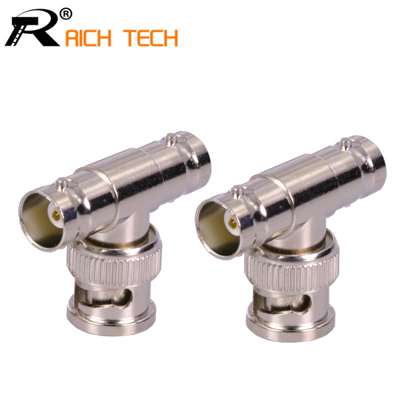Hot sale BNC Connector T Type BNC male to 2xBNC female jack Double BNC female adapter for CCTV Camera System 3pcs/lot 10 pcs lot cctv system solder less twist spring bnc connector jack for coaxial rg59 camera for surveillance accessories