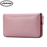 Andralyn Large Cowhide Leather Women Wallets Fashion Long Female Clutch Wallet Solid Zipper Purse Card Holder