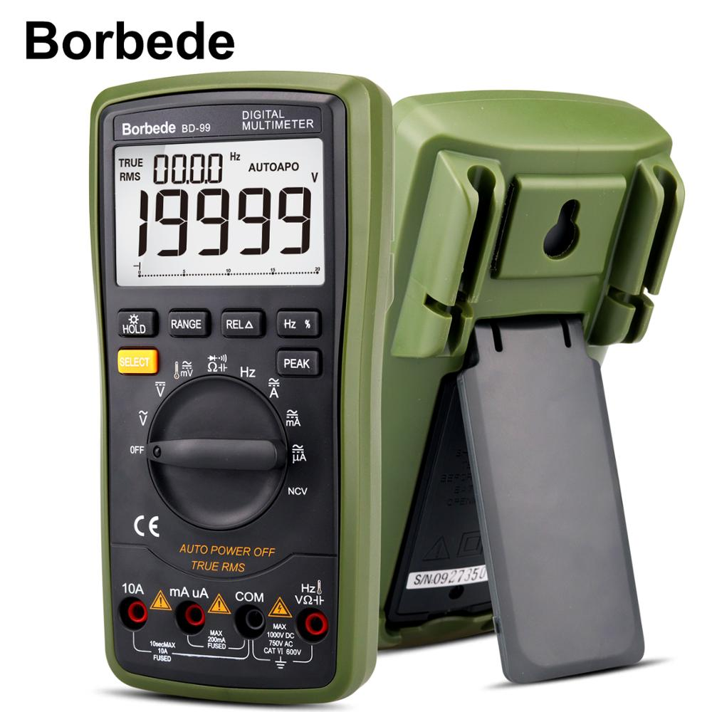 Borbede BD-99 Digital Multimeter 20000 Counts Auto Range <font><b>DC</b></font> AC Resistance Capacitance Peak Hold Tester- 1 Year Warranty image