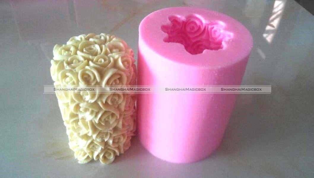 d flor de rose vela cilindro molde molde hecho a mano del jabn del molde de