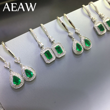 AEAW Solid 14K White Gold AAA Lab Created Colombia Emerald 0.5ct EachCCE Earring Halo Moissanite for Women
