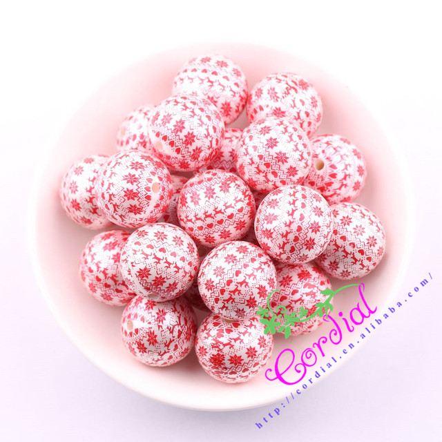 Free Shipping 20MM 100Pcs/Lot Print Red Heart On Matte Pearl Bead For Kids Chunky DIY Handmade Jewelry Accessory # CDBD-601345