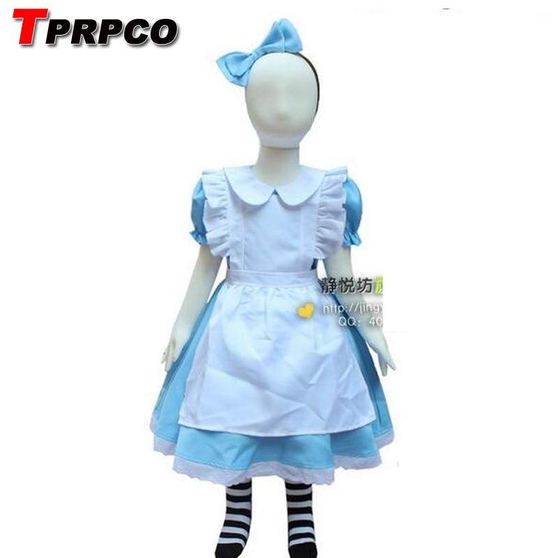TPRPCO Halloween Kids Girls Deluxe Alice In Wonderland Blue  Pink Party Dress Alice Dream Kids Lolita Cosplay Costume NL152
