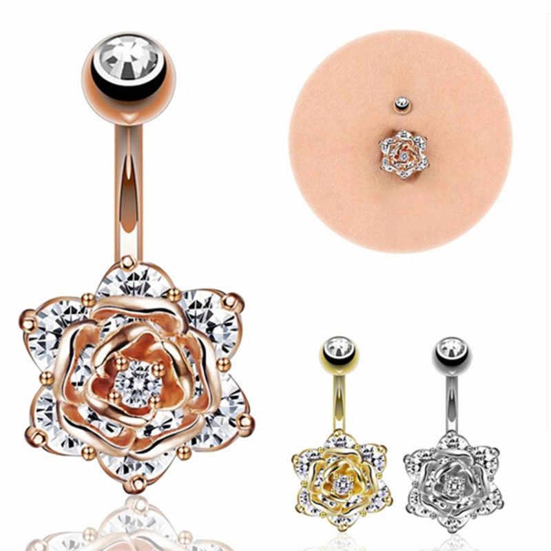 כסף/זהב/רוז זהב קריסטל זירקון פרח להתנדנד טבור טבעת טבור בר גוף פירסינג תכשיטים