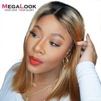 180% Density Short Lace Closure Human Hair Wig 1B/27 Ombre Brazilian 4*4 Lace Closure Bob Wigs for Women Megalook Remy