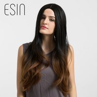 Esin 28 Inch Synthetic Long Hair Wig For Women Natural Wave Cosplay Ombre Dark Brown Hair