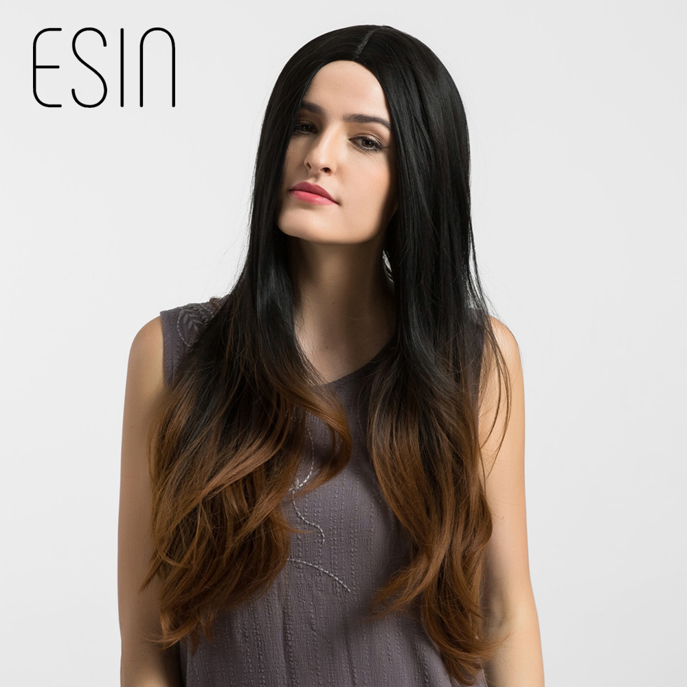 Esin 28 Inch Synthetic Long Hair Wig For Women Natural Wave Cosplay Ombre Dark Brown Hair Centre Parting Hairstyle Free Shipping
