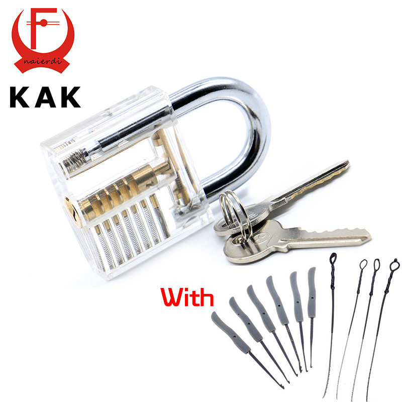 KAK Transparent Visible Pick Cutaway Practice Padlock Lock With Broken Key Removing Hooks Lock Kit Extractor Set Locksmith Tool  hakkadeal broken key removal practice padlock set