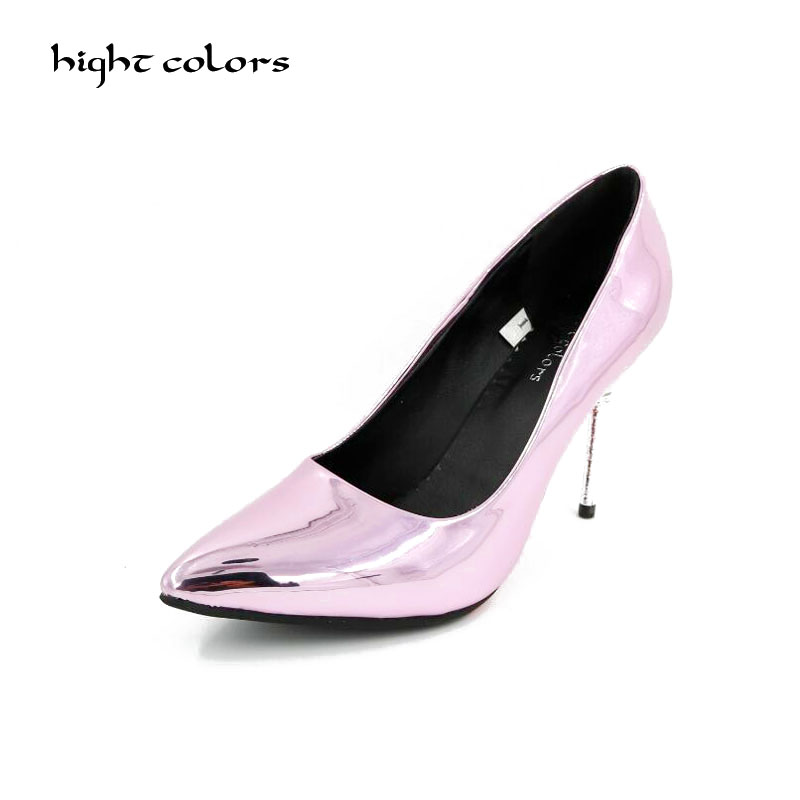 Bright Patent Leather Classic Women Pumps Pointed Toe Thin High Heels Women Shoes Party Wedding Shoes Woman Sexy Ladies Shoes luxury brand crystal patent leather sandals women high heels thick heel women shoes with heels wedding shoes ladies silver pumps