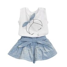 2016 summer baby girl clothing Sets Cotton Sleeveless T shirt Tank tops Vest Plaid Skirts Shorts clothes suits