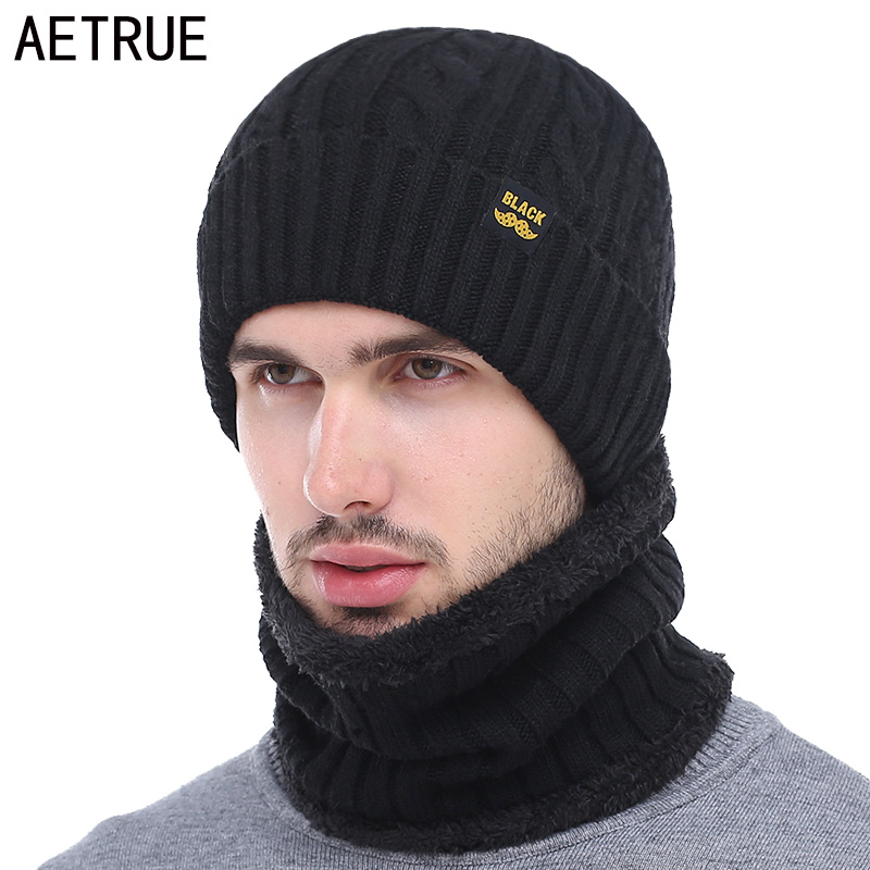 AETRUE Winter Hat Scarf Skullies Beanies Men Bonnet Beanie For Men Women Brand Gorras Warm Hats Wool Male Black Knitted Hat Cap