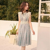 2019 French New French Romance Cutout Lace Patchwork Floral Dream Mesh Gauze Sleeveless Vest Fairy Dress