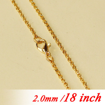 """Bulk Accessories 2mm Circle Rolo Metal Necklace Links With Lobster Clasps Gold  Color 18"""" For Fashion Jewellery Chains Pendants"""