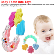 1 piece Baby Silicone Teether Teething Biting baby Rattle Toy 3 colors Handbell Jingle