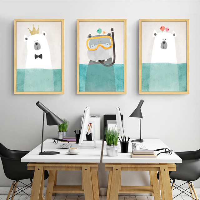 Modern Canvas Painting Art Nordic Kawaii Animals Bear