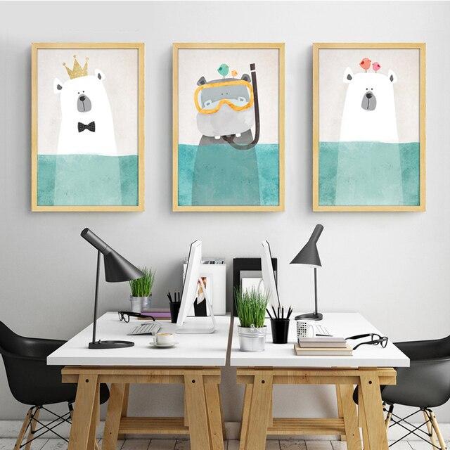 Moderne Canvas Schilderij Art Nordic Kawaii Ren Bear Hippo Poster Print Nursery Wall Foto