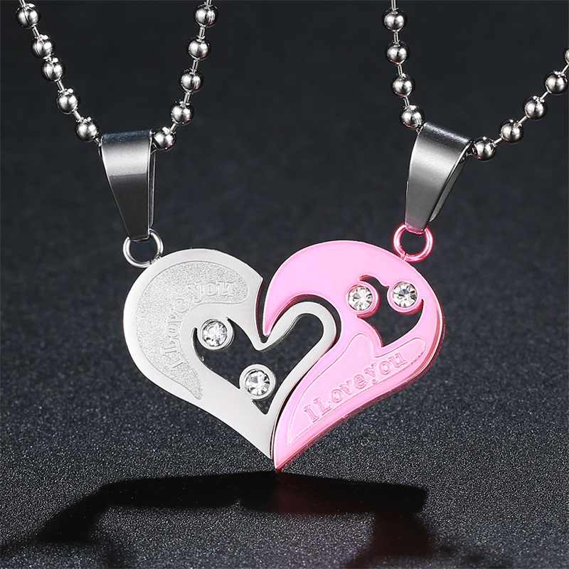 5dfe1608f001 ... AZIZ BEKKAOUI Heart Couple Necklace 316L Stainless Steel Lovers  Necklaces   Pendants Broken Heart Pendant Engraved ...