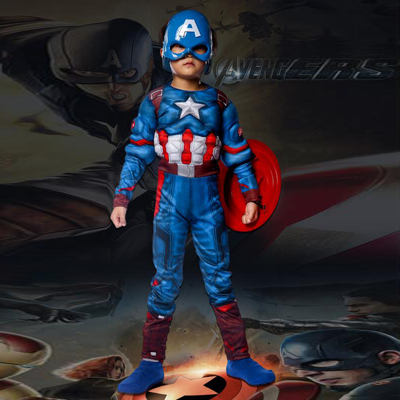 Superhero Kids Captain America Costume Avengers Child Cosplay Super Hero Halloween Costumes For Kids Boys Girls (Jumpsuit+mask)