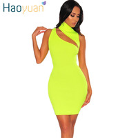 0a9bd55123 HAOYUAN Turtleneck Sexy Knitted Party Dress Club Women Summer Vestidos  Casual Dress Neon Yellow Orange Black