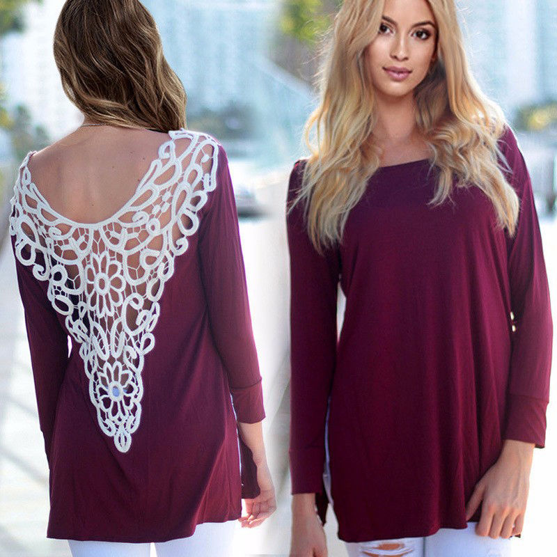 NEW Autumn Womens Loose Casual Long Sleeve Lace O Neck Shirt Tops Blouse Outfit