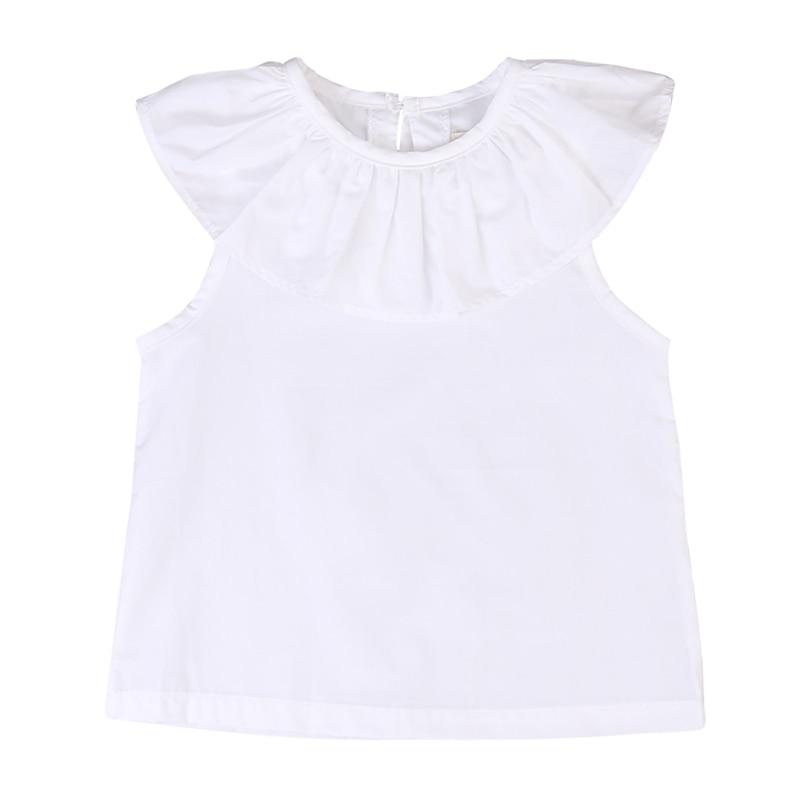 2017 Cute Toddler Kids T shirt Baby Girls Sleeveless Ruffled Collar T Shirt Blusa Summer Cotton