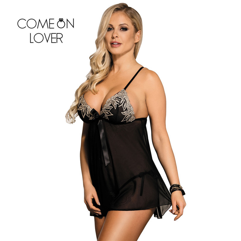 Comeonlover Sexy Strap Transparent Nightwear Adjustable Shoulder Nuisette Grande Taille Sexy Plus Size Babydoll Lingerie RI80409 1