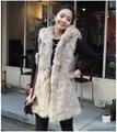 Envío Libre Más El Tamaño Del Vestido Ocasional Mujeres Astilleros Coreanos Felpa Fake Fur Capucha de Invierno Con Capucha Chaleco y Largas Secciones