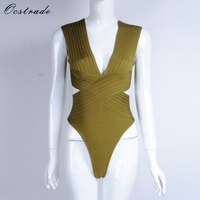 Ocstrade 2017 New Summer Women V Neck Olive Green High Quality Rayon Bandage Bodysuit HL Swimsuit