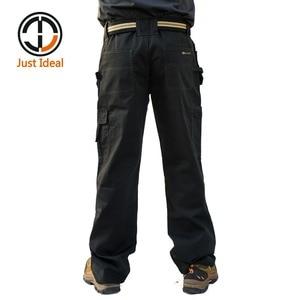 Image 3 - Мужские брюки карго высокой прочности, с несколькими карманами, парусиновые брюки, повседневная одежда для работы, военные тактические длинные брюки полной длины, ID627