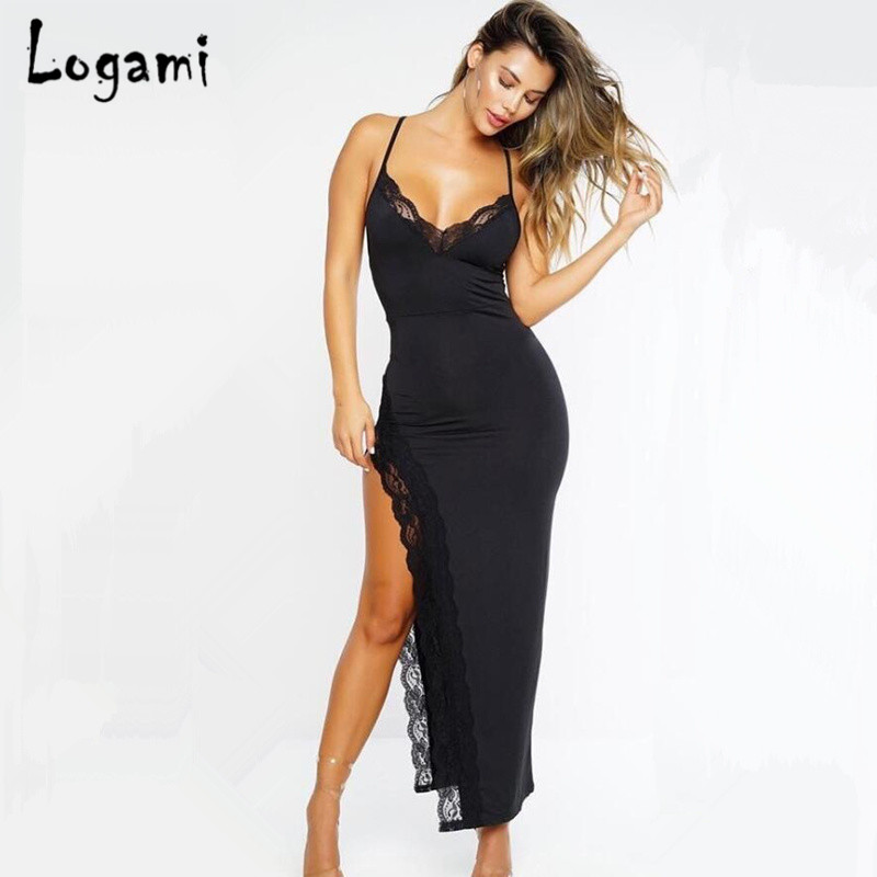 1732a9fff8a LOGAMI Long Summer Dress Women High Split Lace Bodycon Dress Ladies Sexy  Party Club Dresses