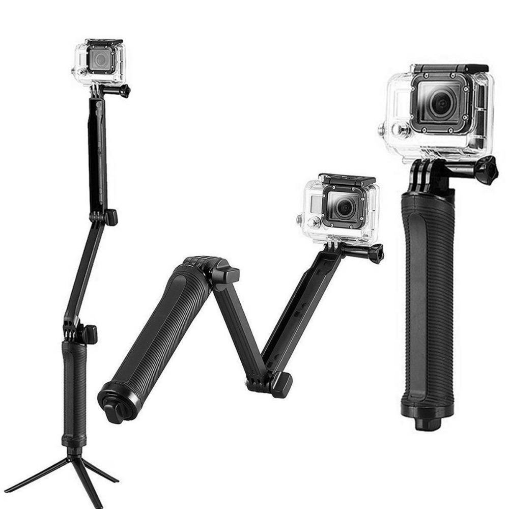3 way Handheld Extendable Tripod Monopod Camera Phone Selfie Stick for GoPro hero 5 4 3+ 3 for xiaomi yi 4k for SJCAM SJ4000 Cam