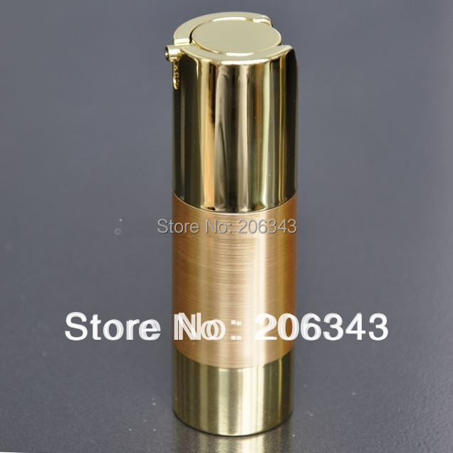 30ml UV gold airless vacuum pump lotion bottle with gold pump gold bottom base used for