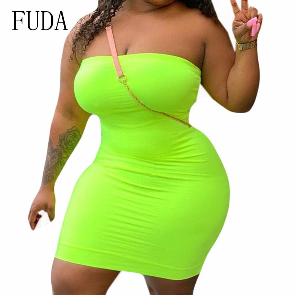 FUDA Women Sexy Off Shoulder Sleeveless Slim Mini Dress Summer Hollow Out Bodycon Bandage Party Dresses Vestidos Plus Size XXL