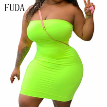 FUDA Women Sexy Off Shoulder Sleeveless Slim Mini Dress Summer Hollow Out Bodycon Bandage Party Dresses Vestidos Plus Size XXL