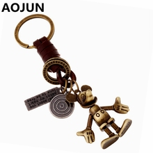 AOJUN 2017 New Mickey Mouse Keychain Vintage Alloy Bronze Leather Keyring Punk Bag Car Key holder Ring Chain For Men Women Gifts