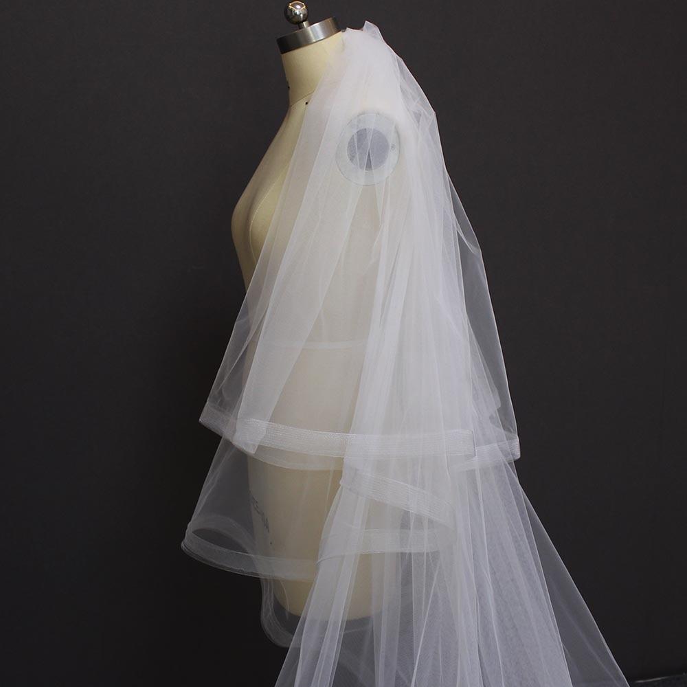 MERMAIDFUN Twee Tiers Wit Ivoor Kathedraal Bruiloft Sluier Met Kam 2 - Bruiloft accessoires - Foto 6